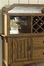 Stemware Hangers, Wine Bottle Storage & Mirrored Top on Server Hutch