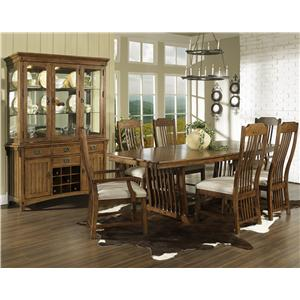 Morris Home Furnishings Craftsman China Cabinet with Wine Bottle Storage