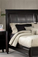 Upholstered Leather Sleigh Headboard