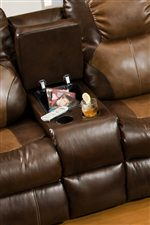 Divider Console in Loveseat Provides Two Beverage Holders, as Well as Covered Storage Space