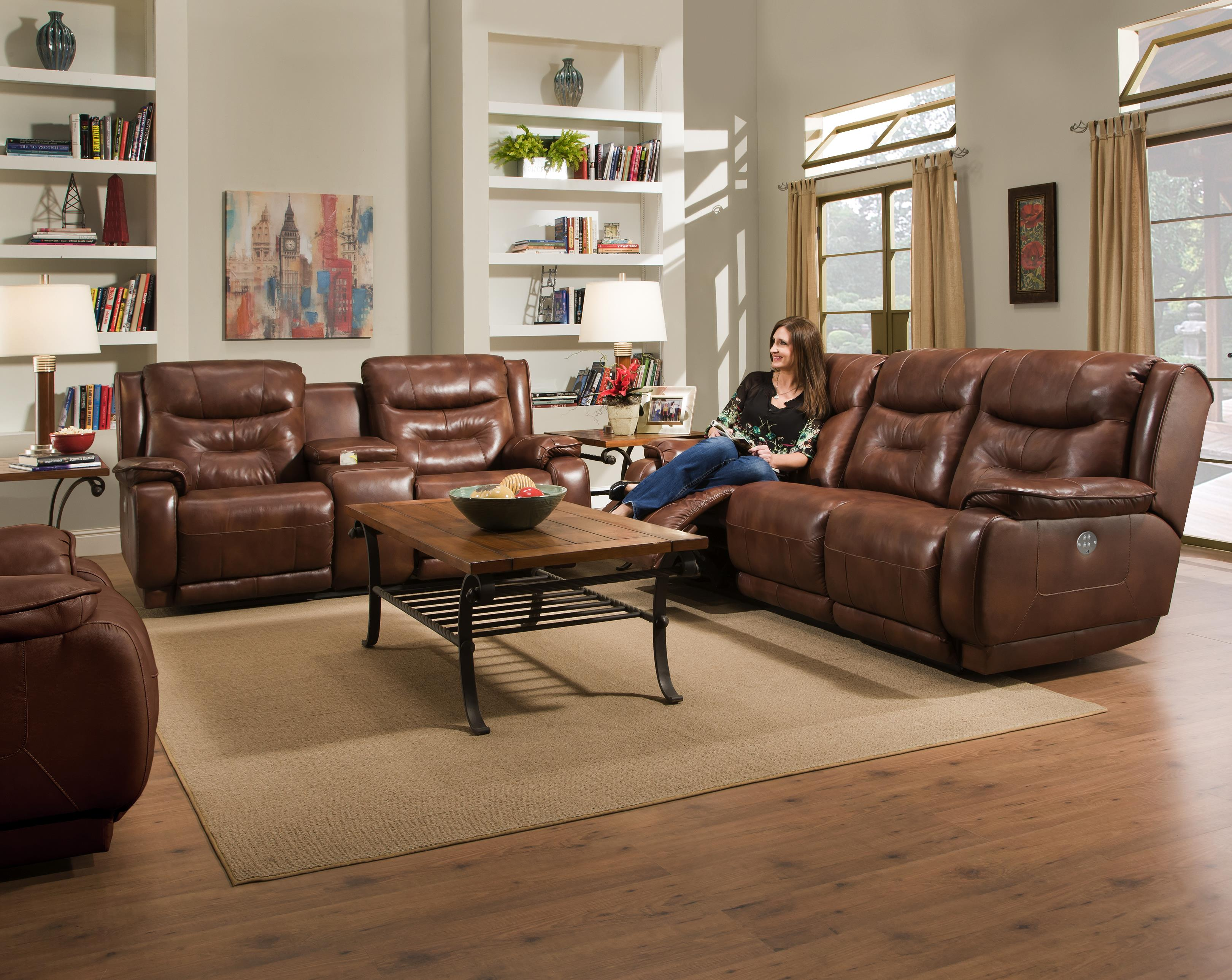 Perfect Southern Motion Crescent Double Reclining Sofa With Power Headrest    Wayside Furniture   Reclining Sofas