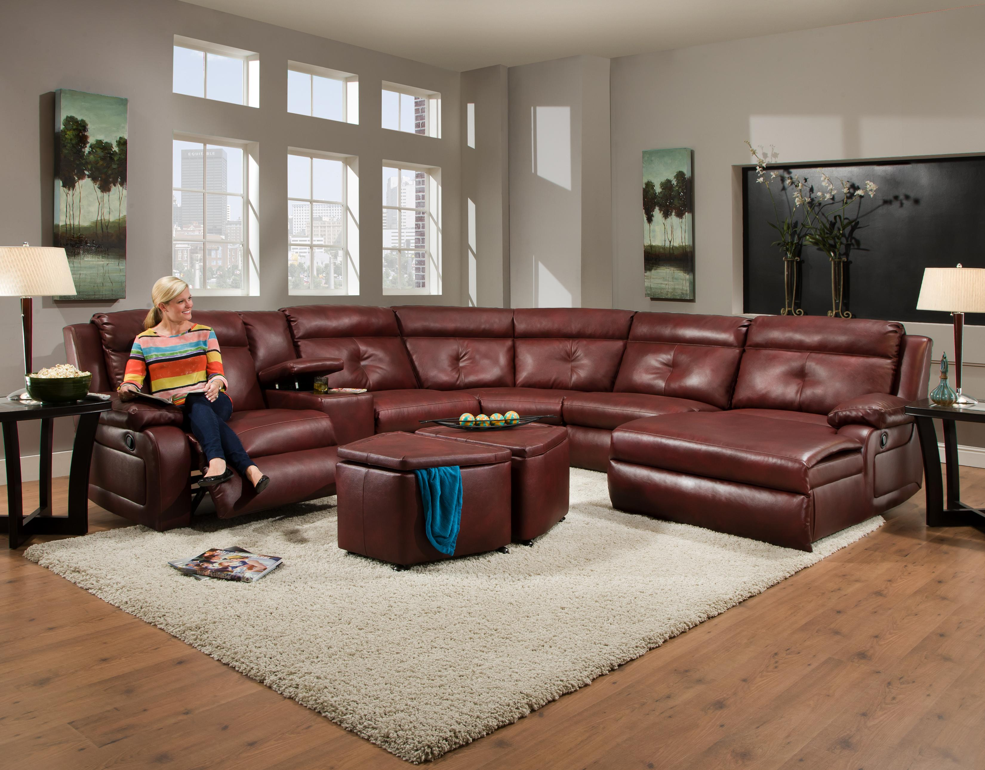Southern Motion Dash Reclining Sectional with Chaise and Console   Item  Number  574 07. Southern Motion Dash Contemporary Styled Reclining Sectional Sofa