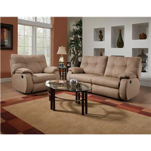 Design to Recline Dodger Plush Pillow Top Reclining Sofa