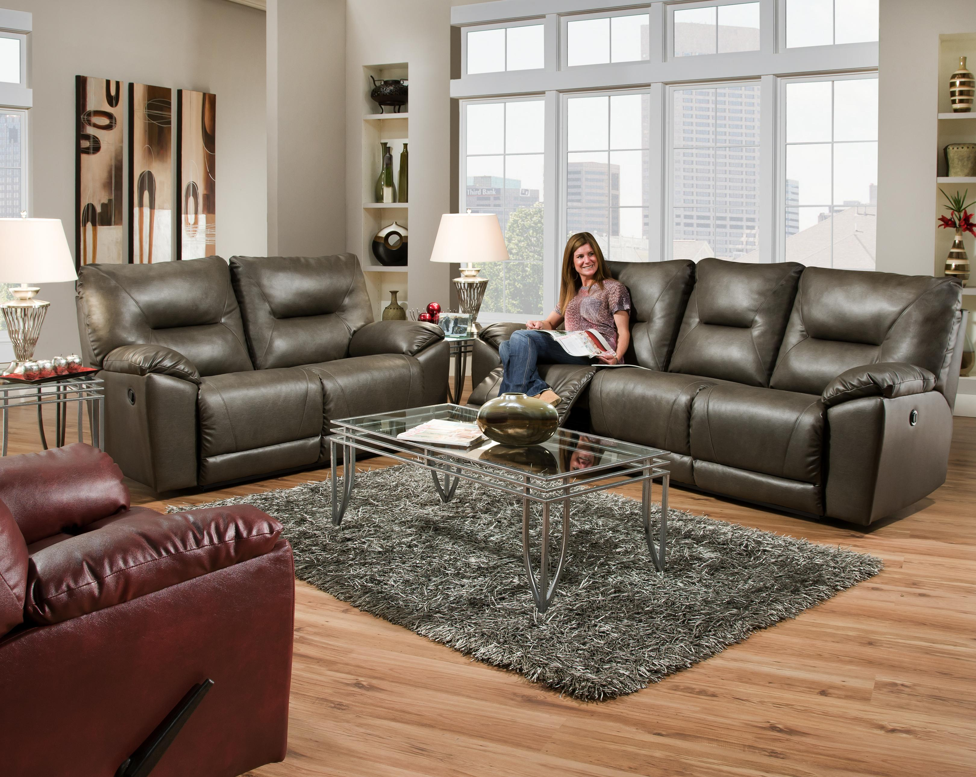 Southern Motion Dynamo Double Reclining Rocking Loveseat with 2