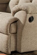 Plush Padded Cushions Add Comfort to Arms While Gently Padded Footrests Relax Weary Feet