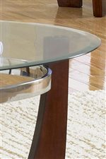 Beveled Glass Table Top With Shiny Metal Ring Below