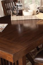 Beautiful Trestle Table Features a Thick Rectangular Table Top