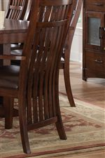 All Chairs Feature Vertical Ganged Slat Backs With Ergonomic Curves
