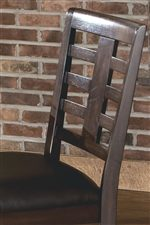 Wood Slat Back with Center Support and Leather Look Upholstered Seat Shown on Stool