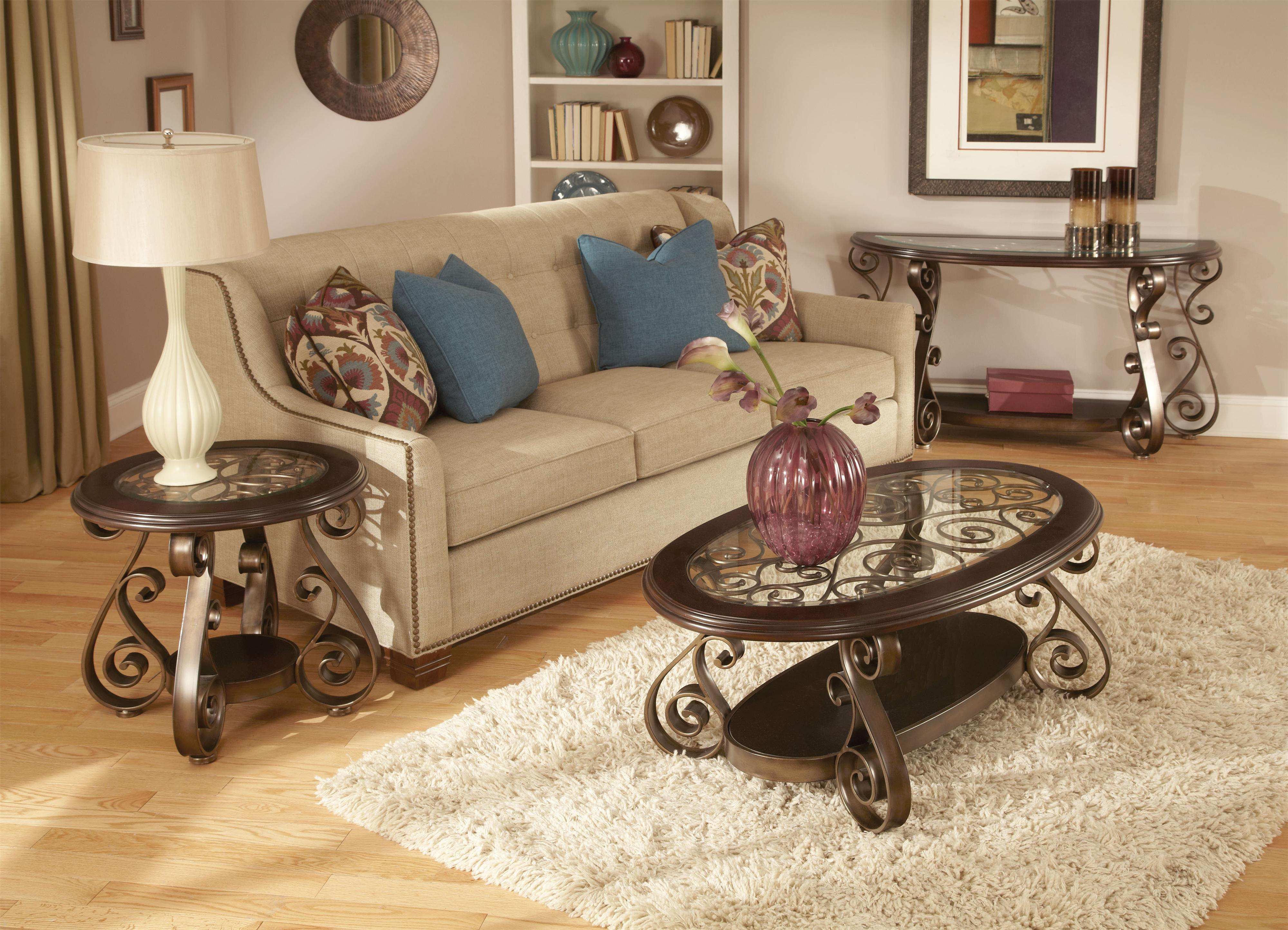 Standard Furniture Bombay Old World Sofa Table With Glass Top And  ~ Sofa Table With Glass Top