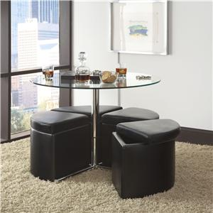 Standard Furniture Cosmo Round Wood Top Table with 4 Black Lift-Top Ottomans