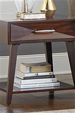 Open shelf storage on console table and end table