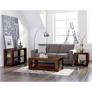 Standard Furniture Franklin Casual Contemporary End Table with Heavy Square Block Legs