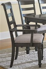 Upholstered Slat Back Chairs with Scroll Armrests
