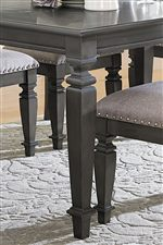 Heavy Square Turned Legs and Detailed Apron