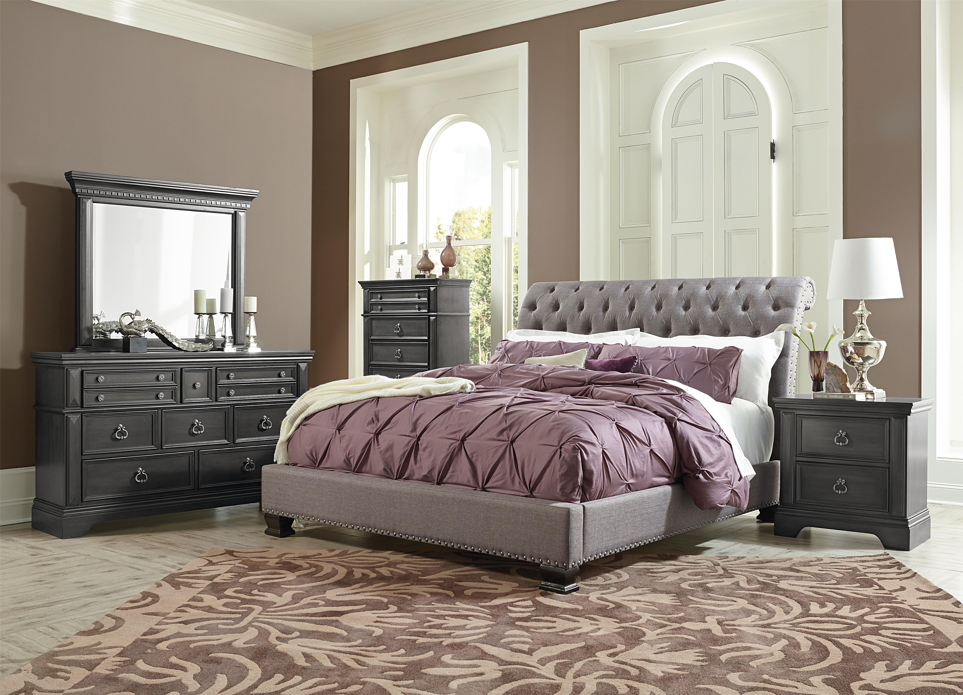 Standard Furniture Garrison Queen Traditional Upholstered Bed   Wayside  Furniture   Upholstered Beds