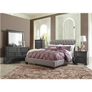 Standard Furniture Garrison Bedroom Queen Panel Bed with Smooth Grey Finish