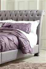 Upholstered Bed with Diamond Tufted Pattern and Overstated Nailhead Trim