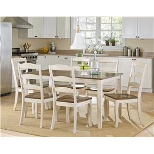 Standard Furniture Highland White Table Set with Six Side Chairs