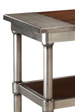 Aged Steel Colored Metal Edges and Cylindrical Legs