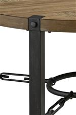 Metal legs inset into table top
