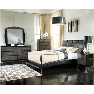 Standard Furniture Moderno King Upholstered Headboard with Vertical Panels
