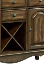 Drawers, Doors and X-Shaped Wine Rack Provide Conveninent Dining Storage