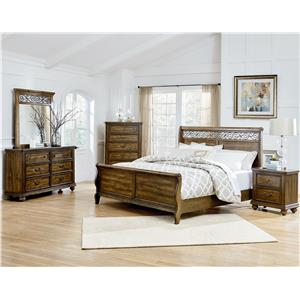 Standard Furniture Monterey Traditional Mirror with Scrolled Fret Crown Details