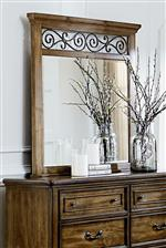 Mirror with Decorative Scoll Crown Detail and Ogee Molding on Dresser Top