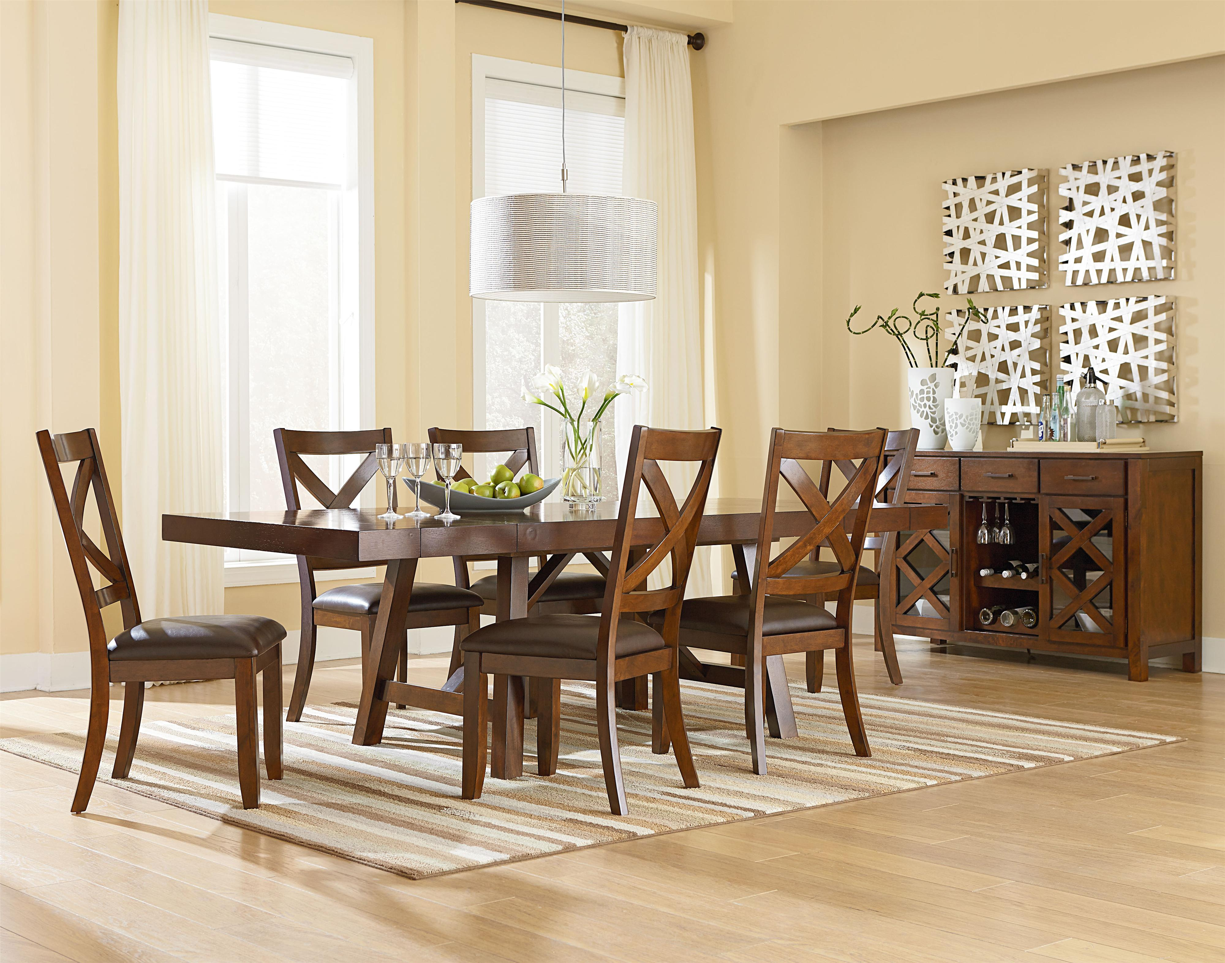 Standard Furniture Omaha Brown Trestle Dining Room Table with Two Leaves | Standard Furniture | Dining Tables Birmingham Huntsville Hoover Decatur ... & Standard Furniture Omaha Brown Trestle Dining Room Table with Two ...