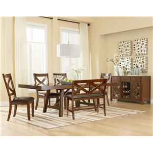 Vendor 855 Omaha Brown Counter Height Dining Bench with Upholstered Seat and X-Back