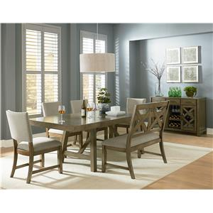 Standard Furniture Omaha Grey 6 Piece, Counter Height Trestle Table Dining Set