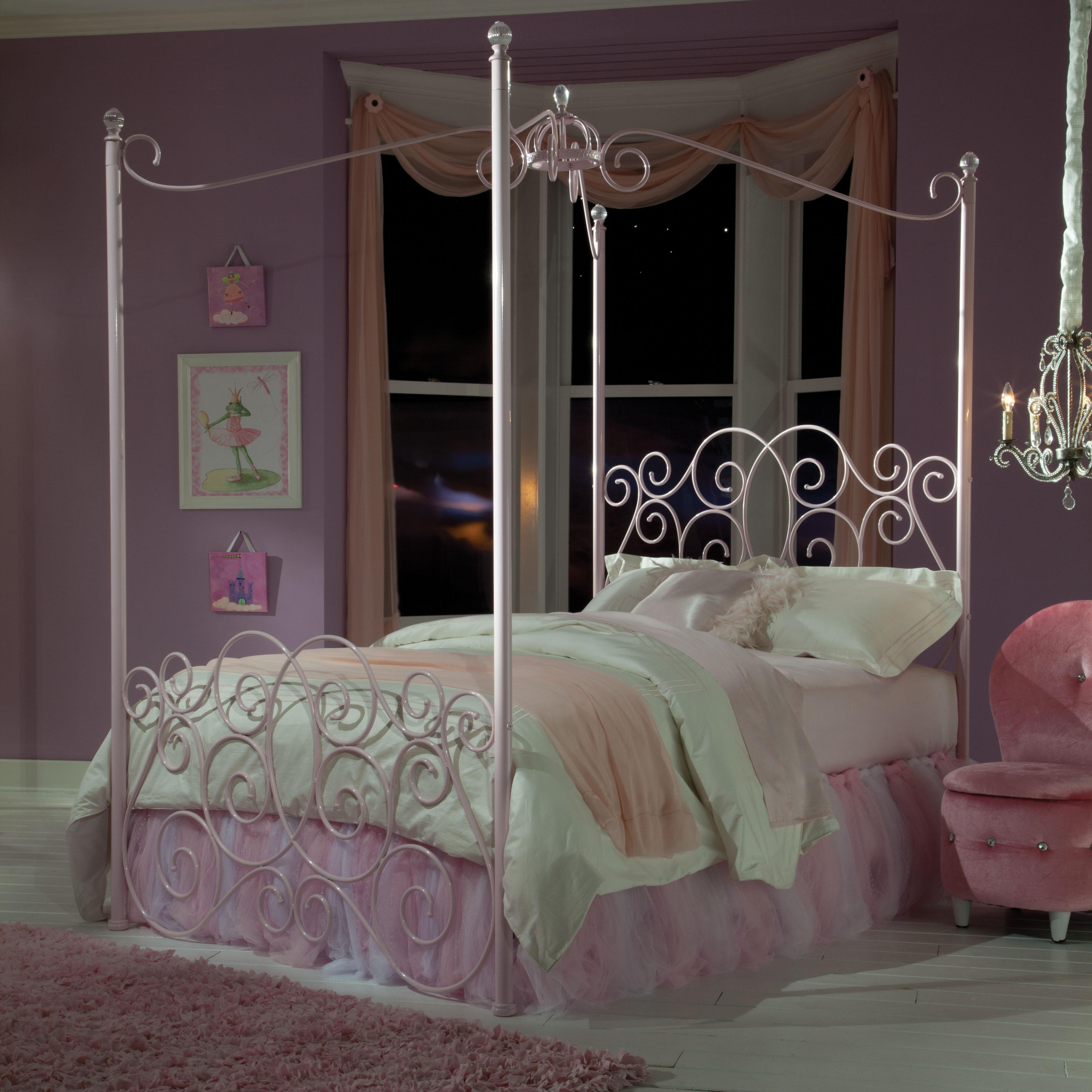 Standard Furniture Princess Canopy Beds Twin Metal Canopy Bed with Clear Post Finials | Wayside Furniture | Canopy Bed & Standard Furniture Princess Canopy Beds Twin Metal Canopy Bed with ...
