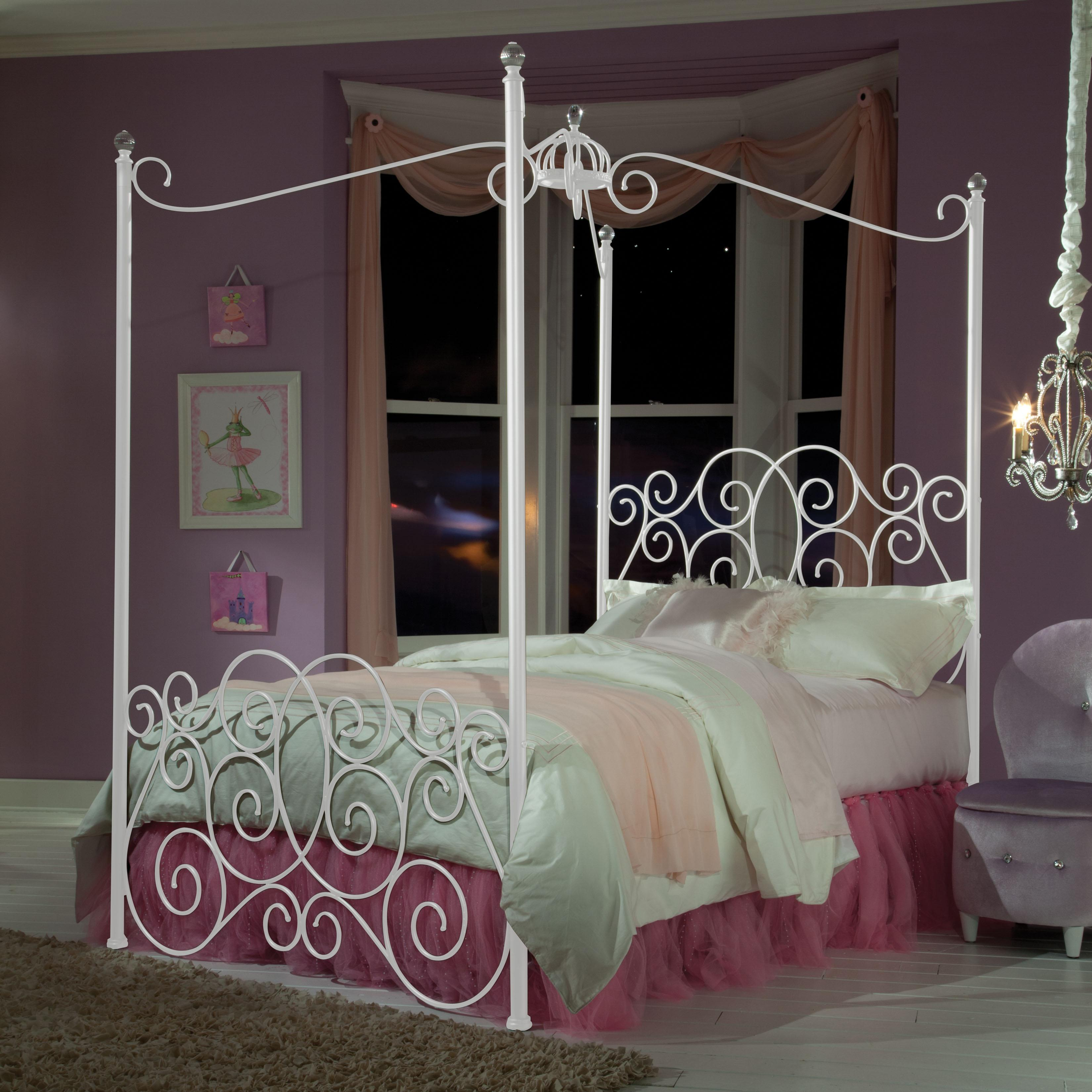 Zenith Princess Canopy Beds Twin Metal Canopy Bed with Clear Post