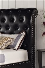 Padded Upholstered Headboard with Diamond Tufting and Nail Head Trim