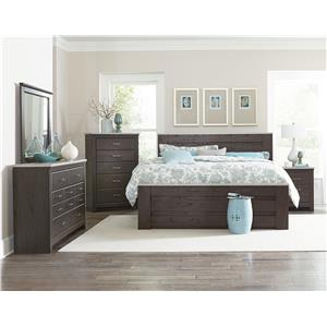 Vendor 855 Stonehill Dark King Poster Bed with Concrete Accents