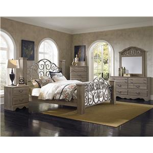 Standard Furniture Timber Creek King Bed with Scrolled Metal Panels
