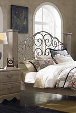 Overstated Square Column Posts Framing Scrolled Metal Headboard