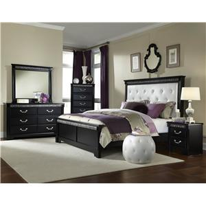 Standard Furniture Venetian Queen Bed with Footboard and Upholstered Leatherette Headboard