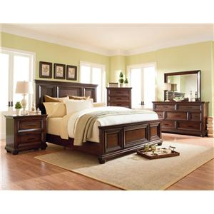 Standard Furniture Vineyard Queen Panel Bed with Beveled Raised Panels and Tobacco Brown Finish