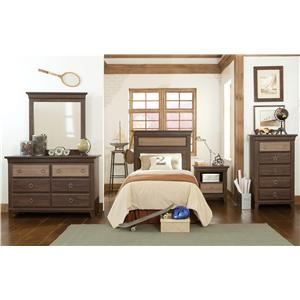 Vendor 855 Weatherly Queen Panel Bed with Two-Toned Finish and Lined Molding