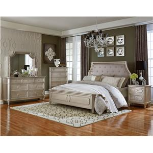 Standard Furniture Windsor Silver Upholstered King Bed with Cove Corners