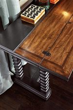 Fathom Finish Contrasting Interior of Reef Flip Top Table with Cross-Grain Cracked Walnut Inlay