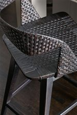 Woven Cane for Texture and Dimension on Tambu Swivel Stools