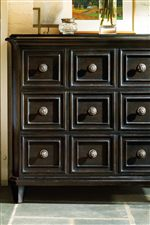 Molding Trim Apothecary Drawer Details on Cariso Bachelor's Chest