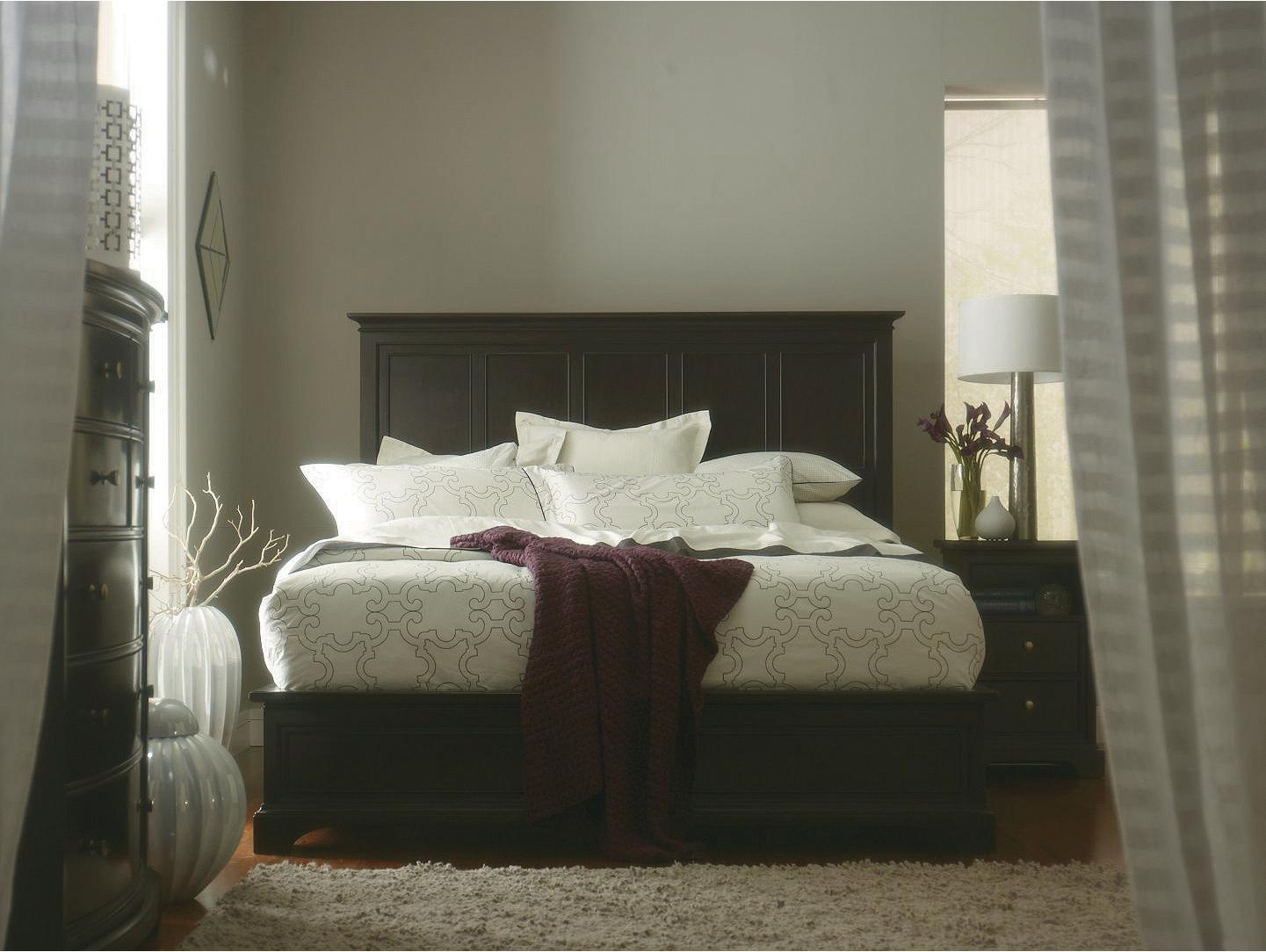 Stanley Furniture Transitional Queen Panel Bed with Wood Veneer ...