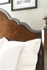 Inlaid Sunburst Veneer on Curved Mansion Bed Headboard