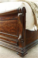 Embellished Pilasters on Sleigh Bed Footboard