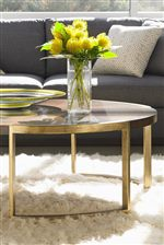 Steel Bases with Hand-Applied Gold Leaf Adds Mid-Century Modern Style on Select Items