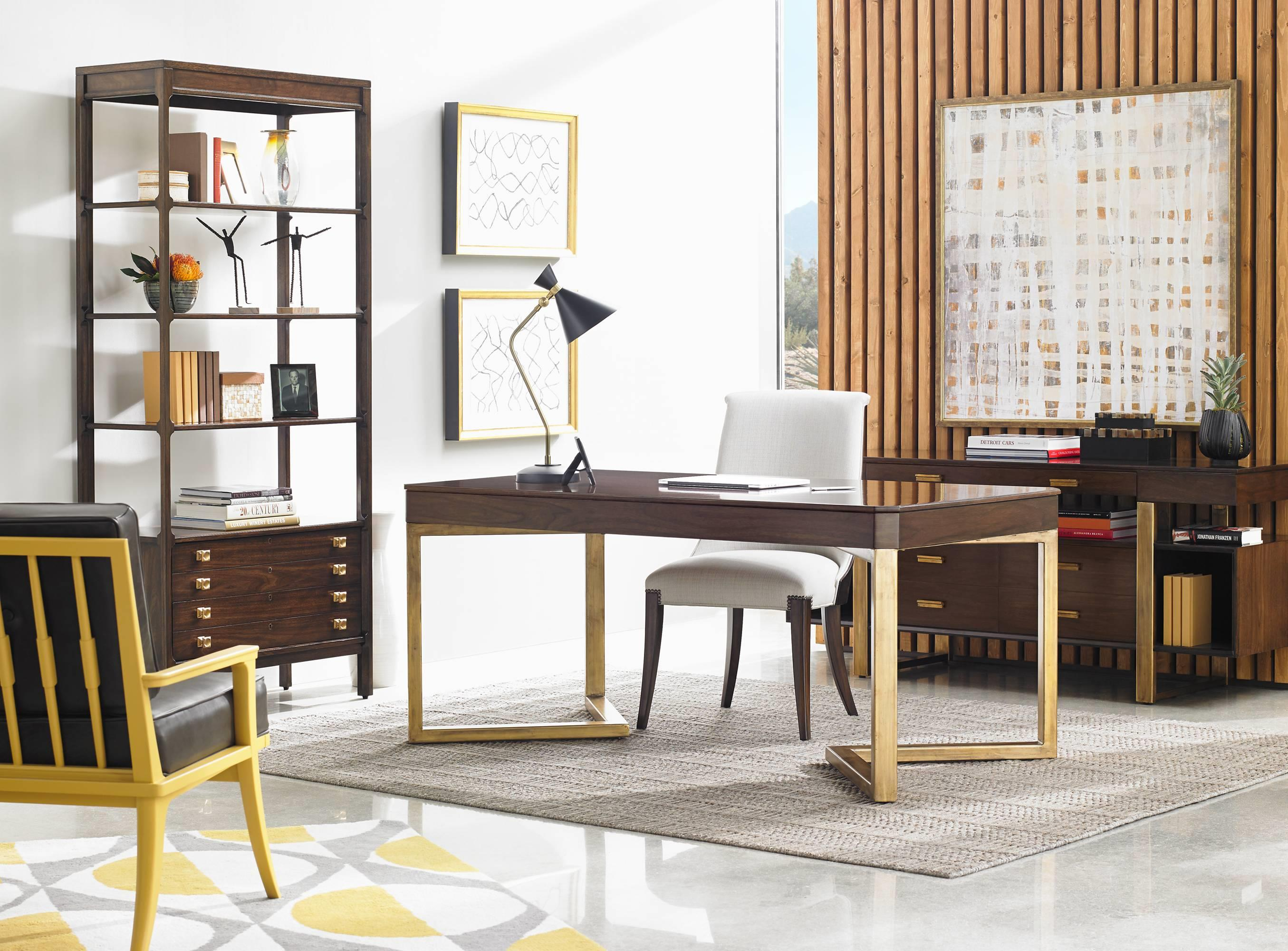 Stanley Furniture Crestaire Mid Century Modern Autry Round Cocktail Table  With Walnut Veneer U0026 Gold Leaf Base   Wayside Furniture   Cocktail/Coffee  Tables